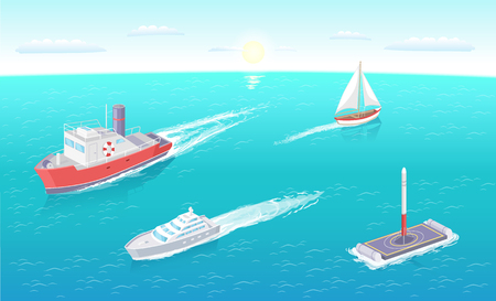 Water transport ferry and yacht different types of vessels set vector. Platform and rocket ready for launching. Transportation of people sailing boat