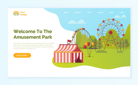 Welcome to amusement park vector, tent and ferris wheel with carousel for kids and adults. Holidays and weekends recreation and fun on nature. Website or webpage template, landing page flat style