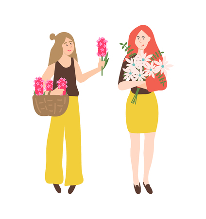 Girls with bouquets of flowers vector, isolated people looking at pink hyacinth and white daisy. Floral composition gathered in woven brown basket Illustration