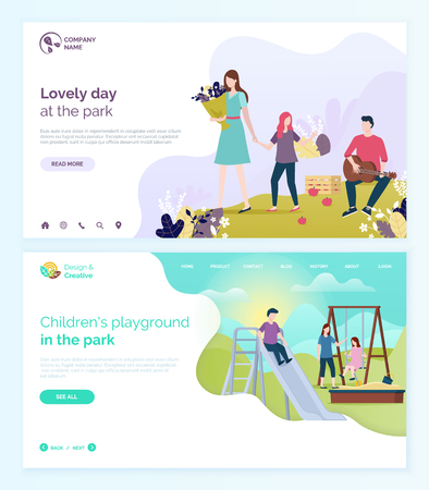 Lovely day in park vector, children playground kids playing with mother. Boy and girl on swings, sandbox with shovel and bucket for castles making. Website or webpage template, landing page flat style Foto de archivo - 123529749