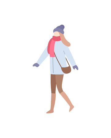 Lady walking wearing warm clothes carrying bag vector. Handbag on woman shoulder, wintertime clothing, glamorous person with hat and mittens gloves Illusztráció