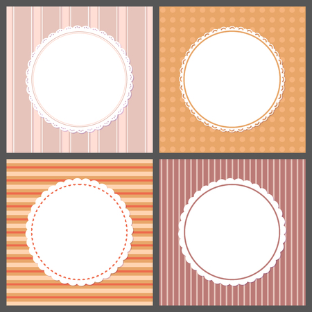 Pastel color gentle posters with round frames and ornaments. Vector invitations and greeting cards design with spare place for text, cover templates 向量圖像