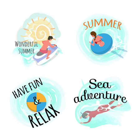 Sweet summer vector, have fun and relax set of people. Man riding bike, motor jetski water splashes. Woman on lifebuoy, swimming lady underwater swimmer Illustration