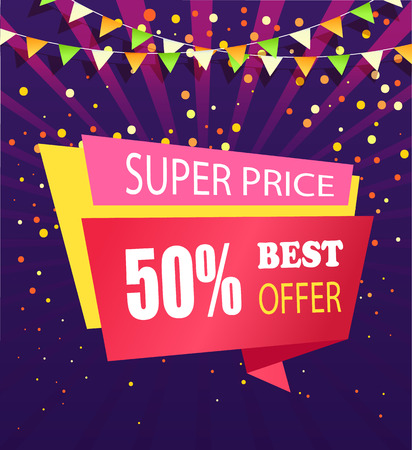 Super price best offer 50 percent off vector banner isolated on purple backdrop with confetti and flag garlands. Vector best sale, half cost off promo poster Ilustrace