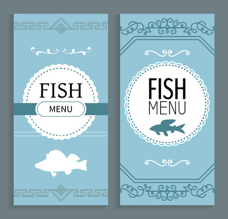 Fish menu vector, prices on food and dishes dietary products. Meat in different eatery, banner with ornaments and prepared ingredients brochures set