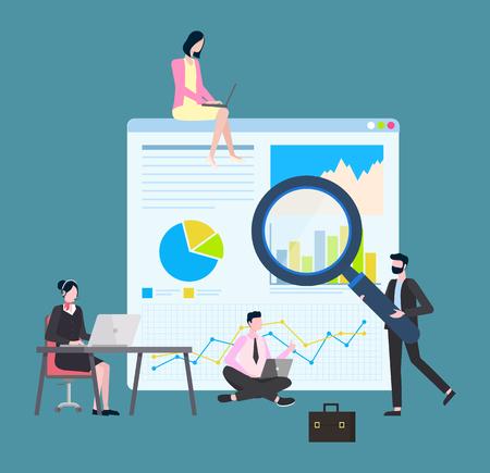 Vettore di lavoro uomo e donna, business plan e strategia. Segretario guardando il computer e digitando, sidro con laptop, maschio con lente d'ingrandimento Vettoriali