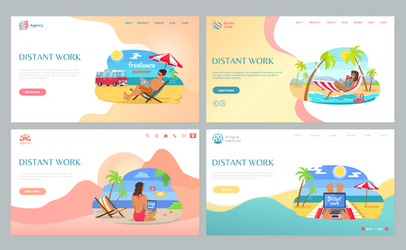 People working on beach, sitting on sand with laptop, distant work in summertime. Freelancers wearing swimsuit, job with wireless device vector. Website or webpage template, landing page flat style