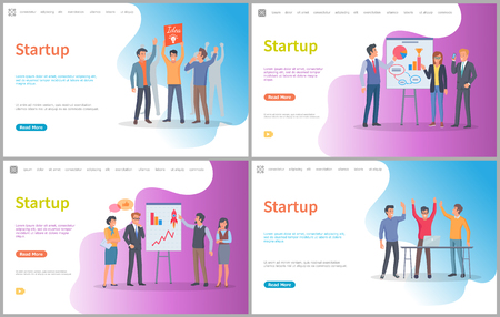 People giving ideas on new project vector, presentation with arguments and infocharts. Digital development of technology, improvement of company. Website or webpage template, landing page flat style
