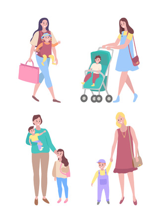 Mother and child vector, woman walking with kid daughter and son flat style. Lady with perambulator pram, mom with toddler boy motherhood childcare