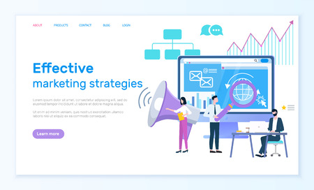 Effective marketing strategies online web page vector. Internet search and computer, magnifier and loudspeaker, market estimation and business promotion
