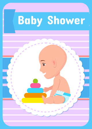 Baby shower greeting card, vector infant in diaper and pyramid first toy constructor isolated in round frame on poster. Child playing with blocks Illustration