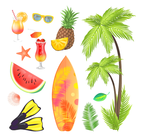 Summertime icons set fruits and beverages in glass. Glasses and palm tree with broad leaves. Flippers and surfing board with print, starfish vector