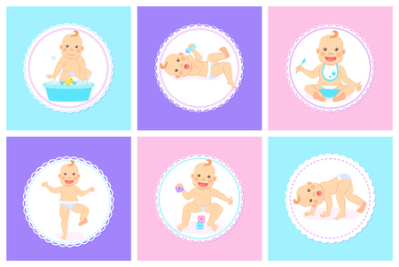 Child with positive face vector, isolated kid playing with cubes for cognitive abilities development, baby holding spoon and eating meal from bowl