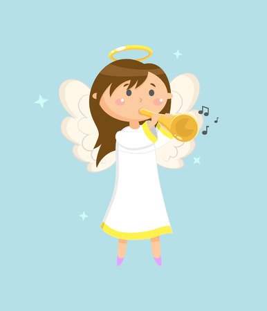 Trumpeter on holiday vector, child girl angel with wings and halo holding trumpet and playing musical instrument. Character waking melodies and songs