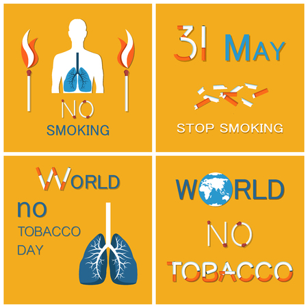World no tobacco day colorful vector human body icon with blue lungs, stop smoking all over globe. Banner st with broken cigars and burning matches Illustration