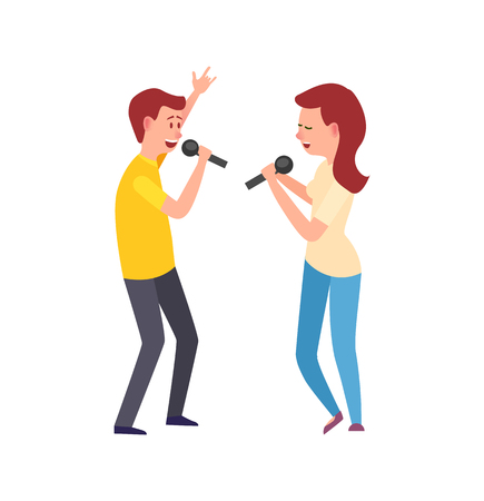 Music performers, singing characters man and woman vector. Lady and gentleman holding microphones, vocalists entertaining, girl and boy leisure hobby Foto de archivo - 123529765