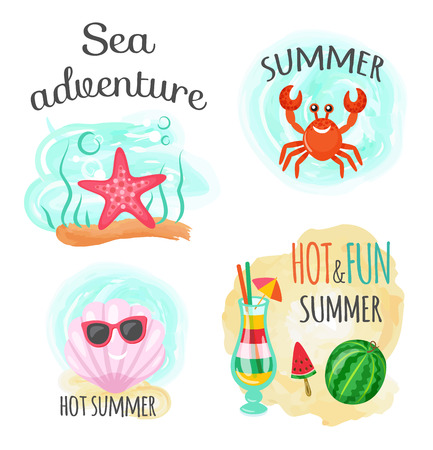 Underwater animals, sea adventure and hot summer vector. Seafish and crab, seashell in sunglasses and cocktail with straw, ice cream and watermelon Ilustrace