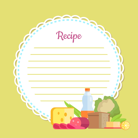 Recipe round cookbook in yellow decorated by bottle, sausage and cheese, bread and batter, cabbage and lemon, noting list for homemade dish vector 向量圖像