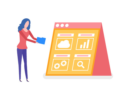 Information in visual form on screen vector. Worker with folder decoding info, cloud and cogwheel, gear sign of process. Magnifying glass search symbol 일러스트