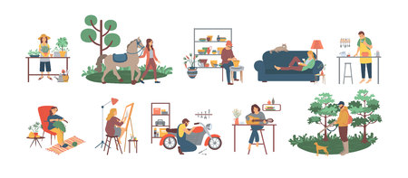 People gardening and cooking, fixing motorbikes vector. Reading books and drawing on canvas, playing guitar and caring for horses animal, men and women