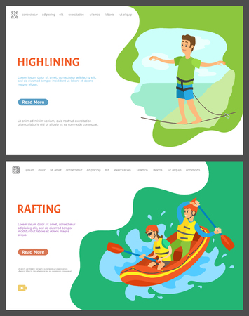 Highlining balancing man vector, male walking on thin line walker with stretched hands. Rafting team in boat, boating and kayaking male and female. Website or webpage template, landing page flat style Çizim