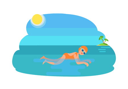 Breaststroke swimming female, woman wearing bathing suit goggles with hat. Sunshine and island seashore, exotic palm tree growing. Sportswoman vector