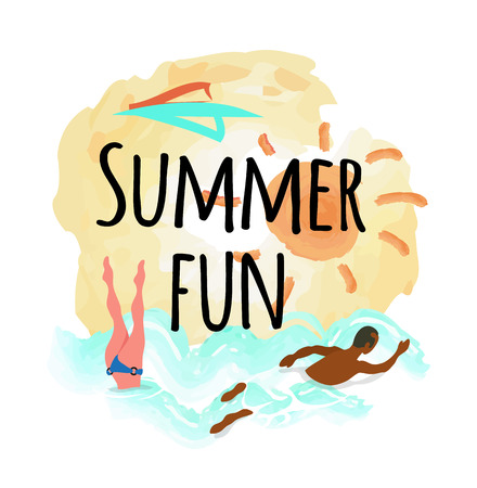 Summer fun emblem, woman diving, afro-american man swimming in blue water, sun and sea. Vector people on rest, summertime activities, butterfly swim