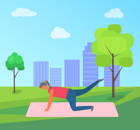 Fitness training and morning exercise, woman doing yoga in park on rug vector. Girl lifting legs on mat, outdoor workout and nature, city on horizon