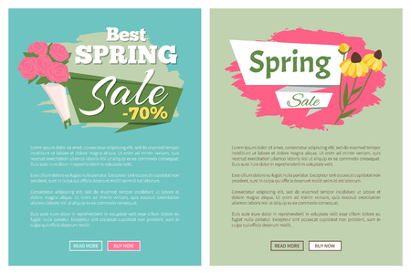 Sale, discount and best offer, label for springtime promotion and advertising, daisy bouquet. Advertisement decorated by flowers, greeting for ladies vector. Website with links buy and read now Ilustrace