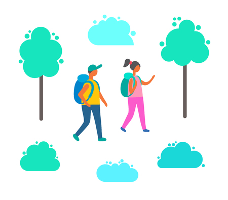 Couple man and woman with backpacks walking among green trees and bushes. Cartoon people in hiking tour, vector tourists with rucksacks, girl and boy together