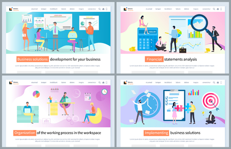Implementing business solution vector, workplace organization for efficiency and high productivity. Schemes and charts on whiteboard, research. Website or webpage template, landing page flat style