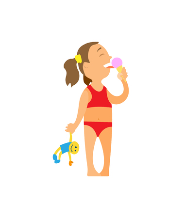 Small girl eating ice cream dessert vector, isolated person on beach enjoying food in summer. Kid holding puppy doll in hand, little person on vacation