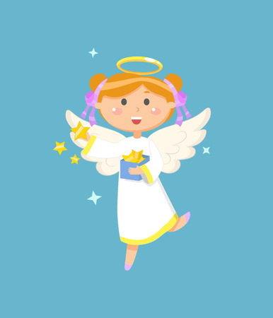 Christmas or Easter symbol, angel with box of stars, religious holiday vector. Girl in dress with halo and wings, heaven creature, Valentines day Illustration