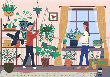 Flowering plants growing in pots and vases vector, man and woman caring for houseplants, female and male characters watering plantation in greenhouse