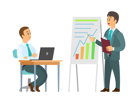 Business seminar vector, explanation of plan on whiteboard. Boss with infographics, worker with laptop noting given fresh ideas, solution for company