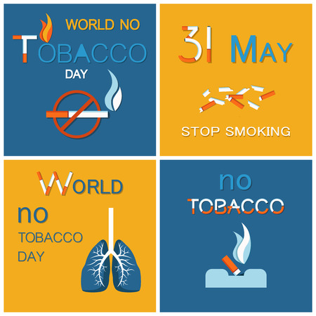WNTD World no tobacco day celebrated on 31 May, broken cigarettes, ill lungs, cigar in ashtray. Abstinence from nicotine consumption around globe vector