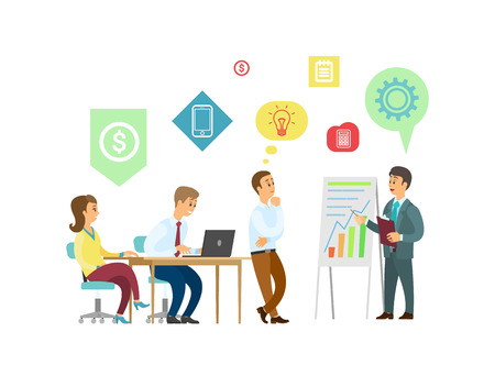 Teamwork, boss and employees with graphic presentation vector. Men and women, office workers and laptop, business project and work strategy, progress