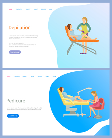 Depilation and pedicure web page, sitting woman on table and working master. Feet care flat website with links, app menu of spa procedures vector