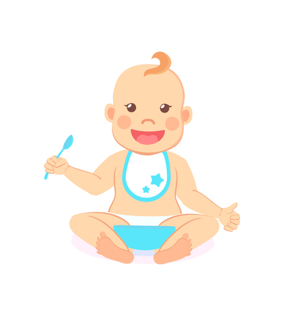 Happy infant baby boy eats itself isolated. Vector toddler in bib and diaper with spoon and bowl of porridge, 6 to 12 month milestones of newborn kid