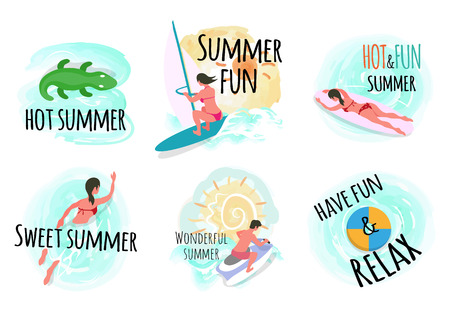 Summertime vacation vector, people on holidays flat style set. Crocodile and windsurfer, swimming person sunshine and surfboarding woman, seaside