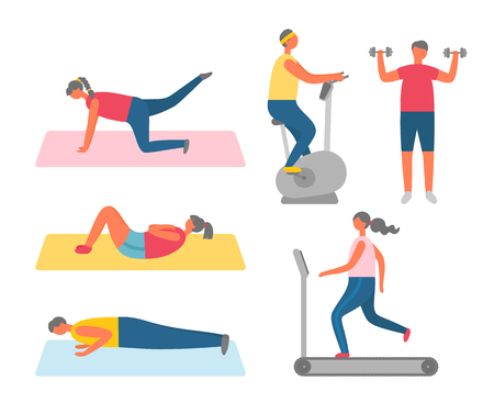 Men and women doing sport and fitness training vector. Sit-ups and push-ups, lifting legs and exercise bike and dumbbells, girl on treadmill, gym workout