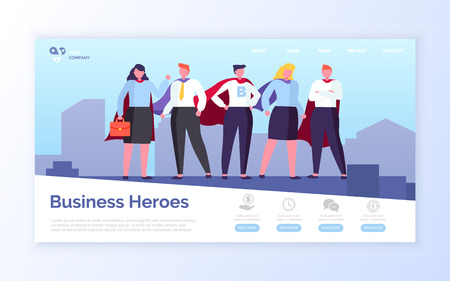 Heroes in field of business vector, man and woman wearing formal clothes standing on top of skyscraper, people with cloaks superhero teamwork. Website or webpage template, landing page flat style