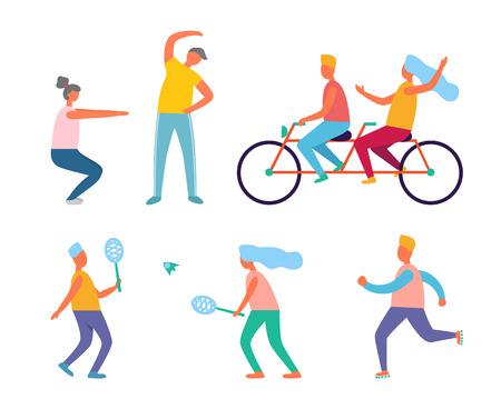 Estilo de vida saludable, fitness y vector de actividad al aire libre. Ejercicio matutino y andar en bicicleta, bádminton y jogging, hombres y mujeres en ropa deportiva, deporte Ilustración de vector
