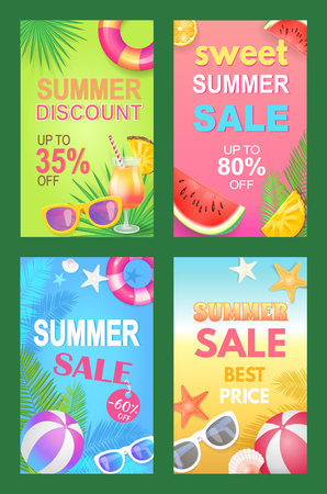 Summer discounts seasonal promotional posters set vector. Sunglasses accessories and inflatable rubber ball and lifebuoy. Starfish and shell seaside