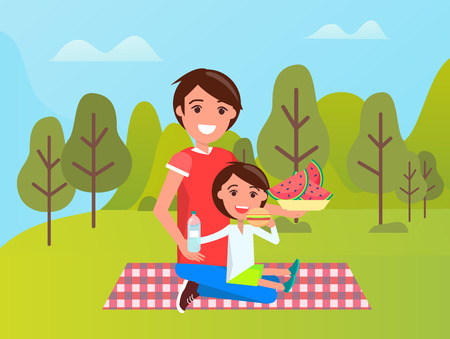 Smiling father and son sitting on mat, boy eating burger, dad holding bowl with watermelon. People relaxing in green park or forest, sportwear vector