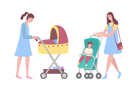 Happy mothers vector, woman with perambulators, kids sitting in pram flat style. Parent of boy sitting in carriage, lady walking with sleeping baby Illustration