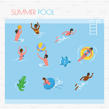 Summer pool, people splashing in water, man and woman swimming and playing with ball. Sunbathing female on rubber circle, aqua relax or leisure vector