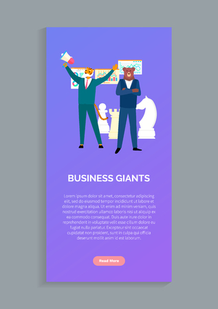 Business giants tiger and beer in boss suits isolated animals in human cloth. Vector hipsters, chess prans, diagrams, charts and statistical data. Website or webpage template, landing page flat style Ilustrace