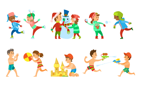 Children vacations in summer and winter vector, kids building snowman and sand castle, playing water fight and snowball battle. Volleyball on beach