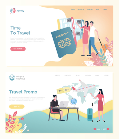 Time to travel, ticket discount online, tourists man and woman with bag, traveler portrait view with passport, traveling by plane, vacation web vector Ilustrace